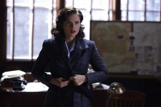 Peggy in a sensible jacket, buttoned up to avoid chills
